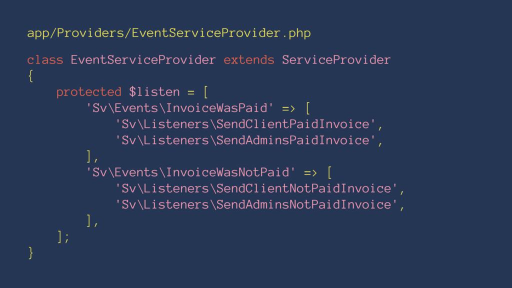app/Providers/EventServiceProvider.php class Ev...