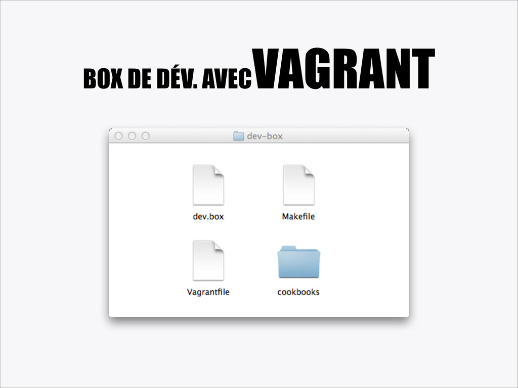 BOX DE DÉV. AVEC VAGRANT