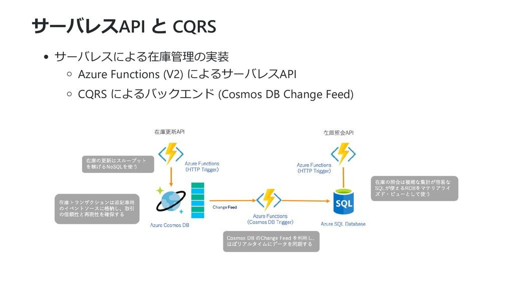 サーバレスAPI と CQRS サーバレスによる在庫管理の実装 Azure Functions...