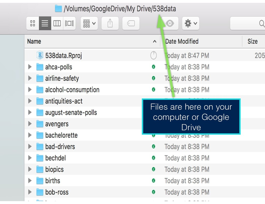 Files are here on your computer or Google Drive