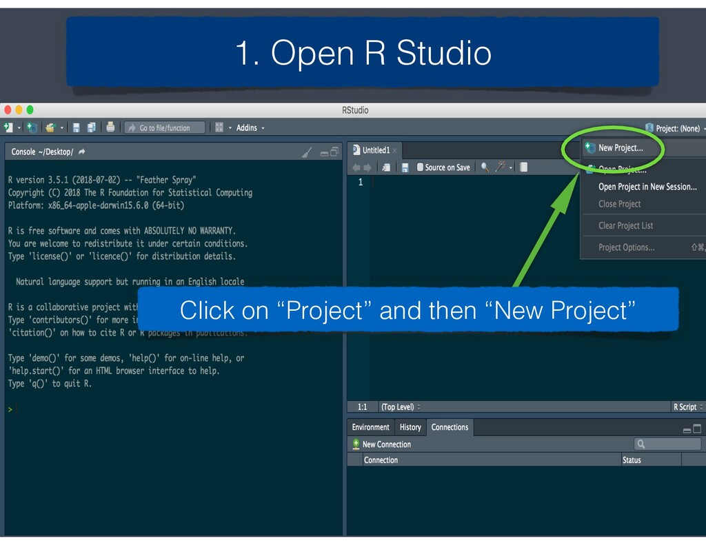 """1. Open R Studio Click on """"Project"""" and then """"N..."""
