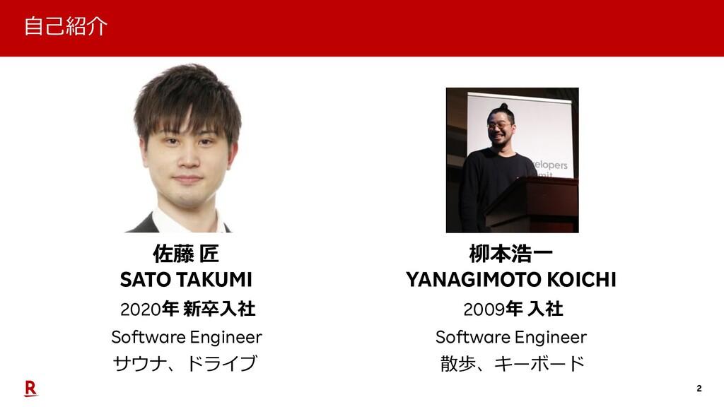 2 佐藤 匠 SATO TAKUMI サウナ、ドライブ 2020年 新卒⼊社 Software...