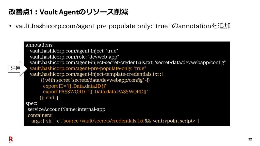 22 改善点1︓Vault Agentのリソース削減 annotations: vault.h...