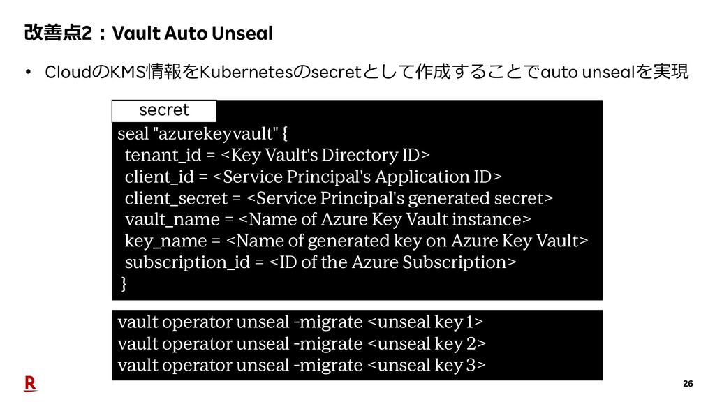 26 改善点2︓Vault Auto Unseal • CloudのKMS情報をKuberne...