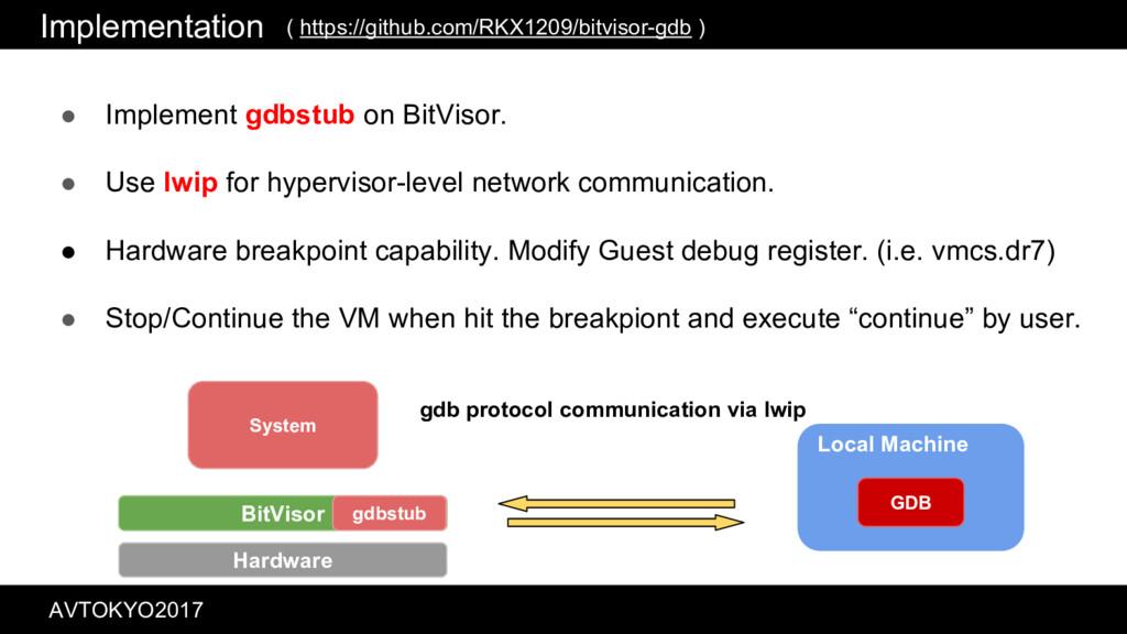 Implementation ● Implement gdbstub on BitVisor....