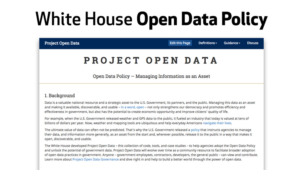 White House Open Data Policy