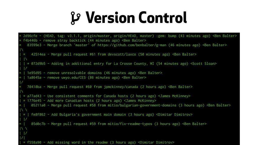 """ Version Control * 2d96cfe - (HEAD, tag: v3.1...."