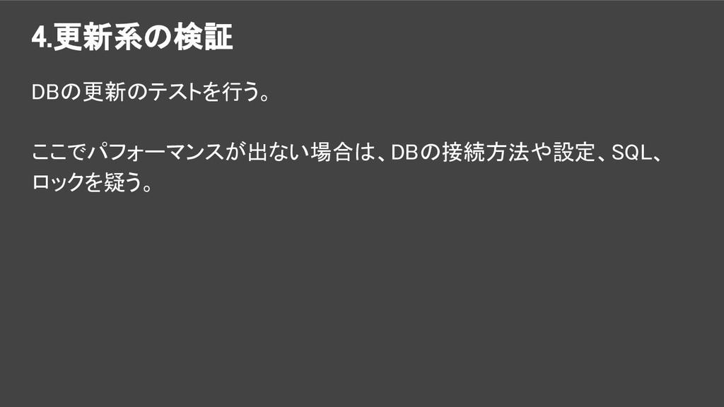 4.更新系の検証 DBの更新のテストを行う。 ここでパフォーマンスが出ない場合は、DBの接続方...