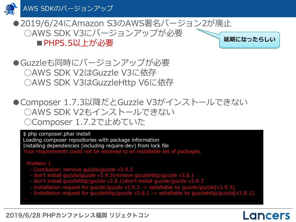 1)1ΧϯϑΝϨϯεԬ ϦδΣΫτίϯ AWS SDKのバージョンアップ...