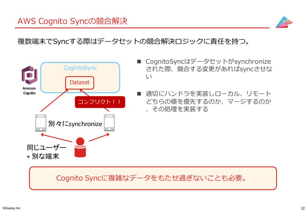 22 ©Gunosy Inc. AWS Cognito Syncの競合解決 Cognito ...