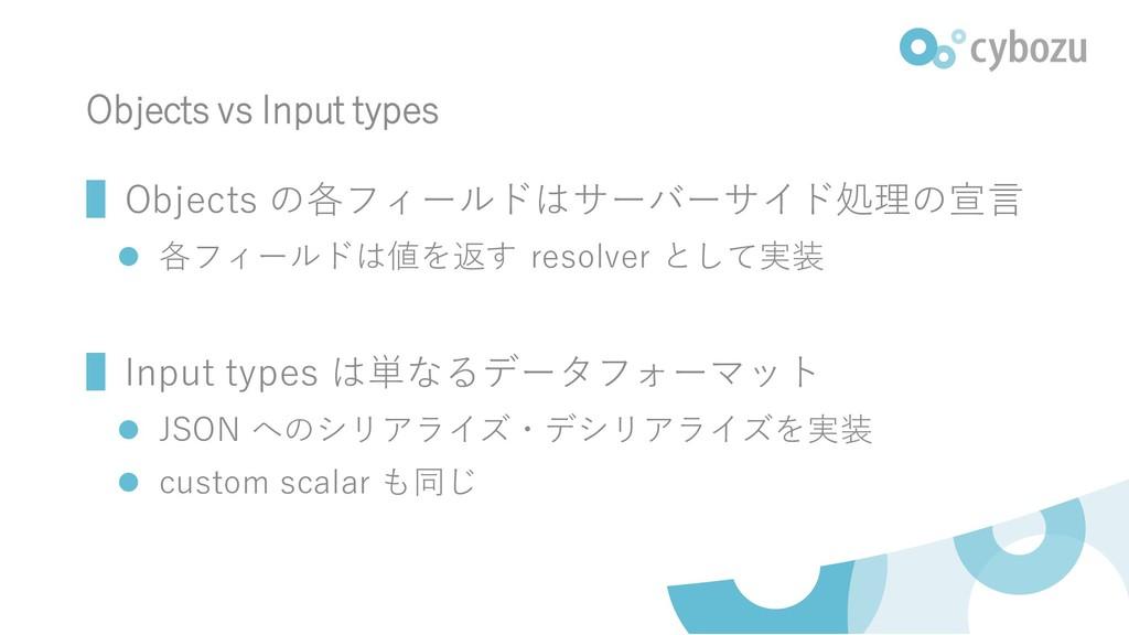 Objects vs Input types ▌Objects の各フィールドはサーバーサイド...