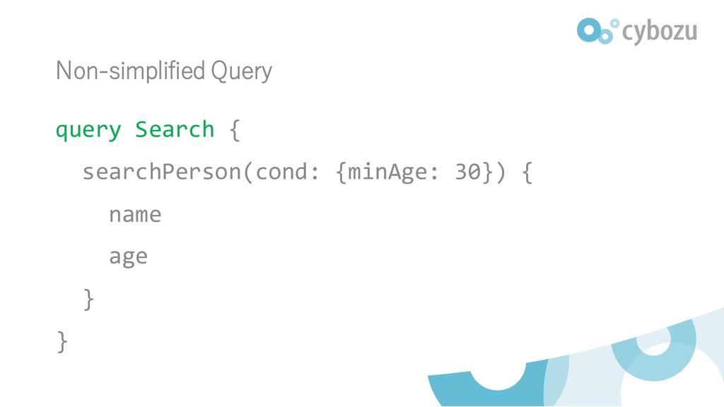 Non-simplified Query query Search { searchPerso...