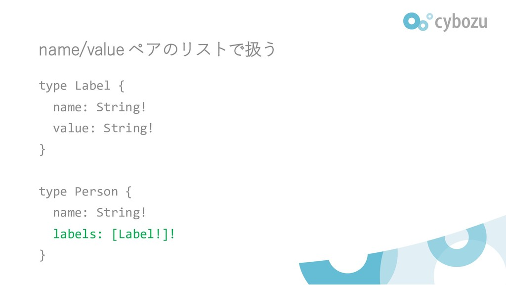 name/value ペアのリストで扱う type Label { name: String!...