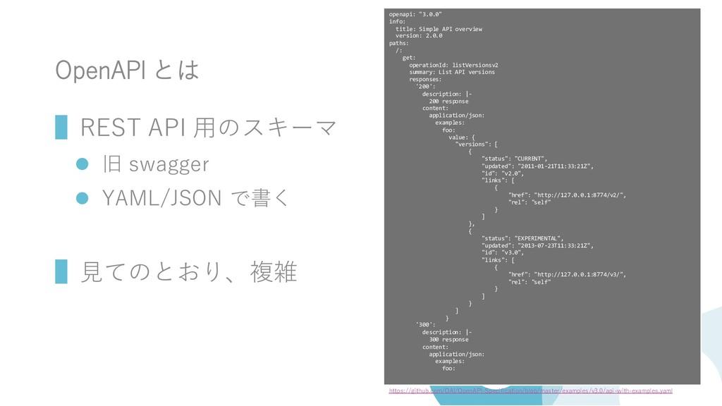 OpenAPI とは ▌REST API 用のスキーマ ⚫ 旧 swagger ⚫ YAML/...