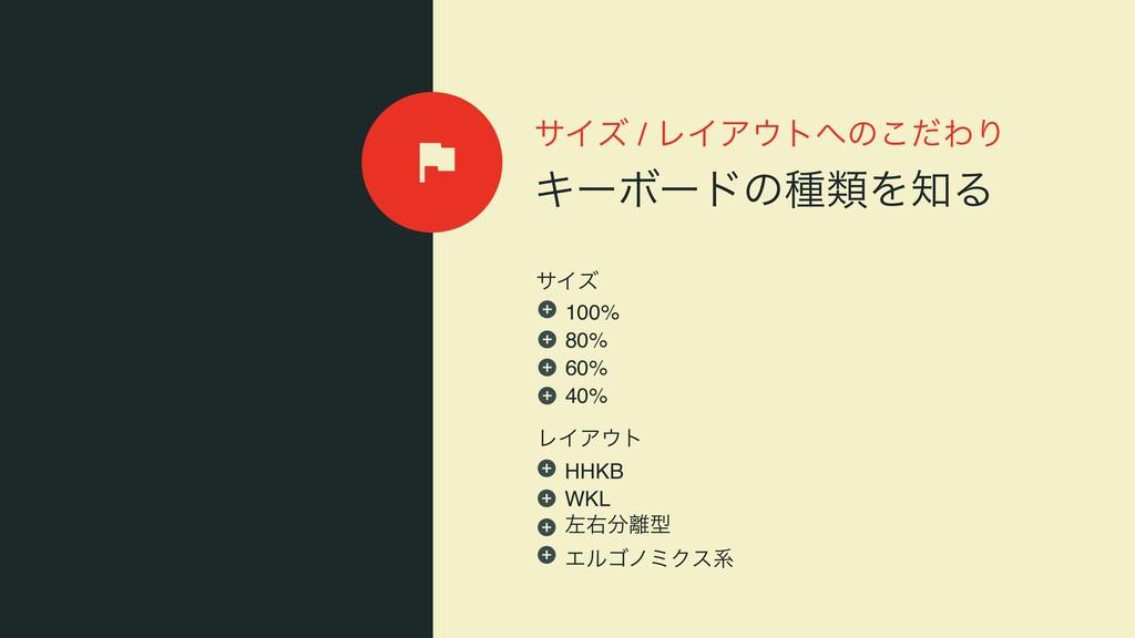 αΠζ / ϨΠΞτͷͩ͜ΘΓ ΩʔϘʔυͷछྨΛΔ ϨΠΞτ αΠζ 100% 80...