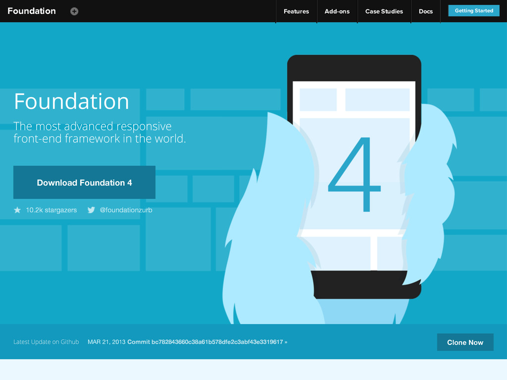 Foundation Features Add-ons Case Studies Docs G...