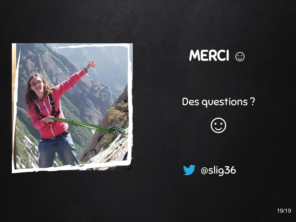 MERCI ☺ Des questions ? ☺ @slig36 19/19