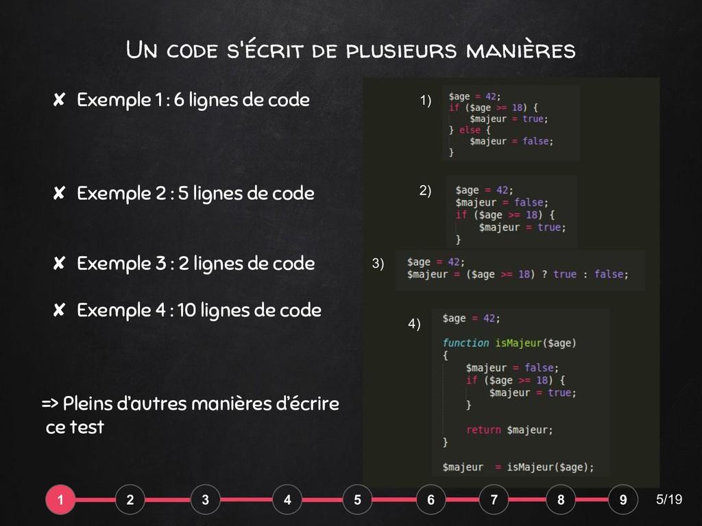 Un code s'écrit de plusieurs manières ✘ Exemple...