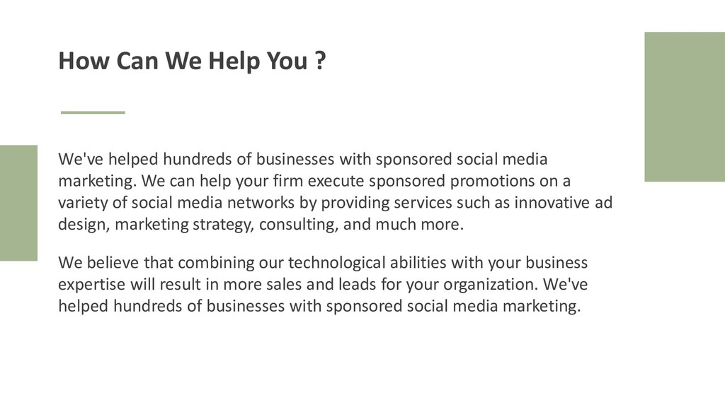 Yellow I Presentation How Can We Help You ? We'...