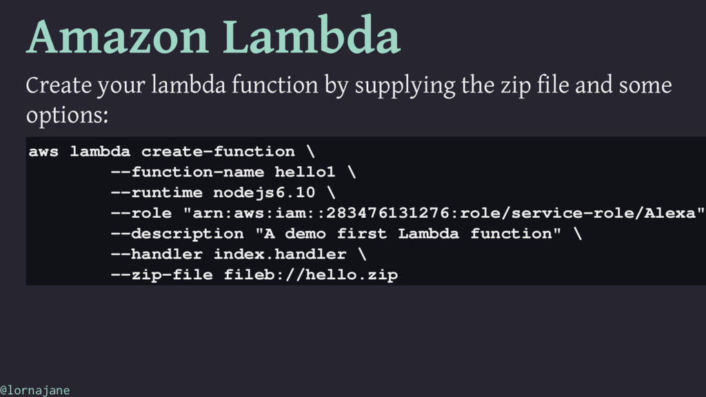 Amazon Lambda Create your lambda function by su...