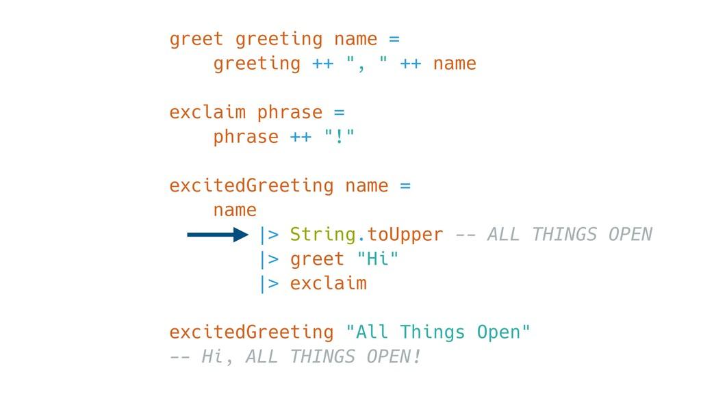 """greet greeting name = greeting ++ """", """" ++ name ..."""
