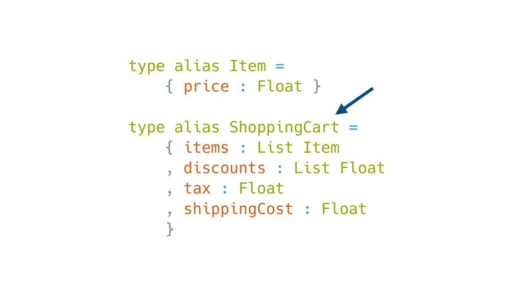 type alias Item = { price : Float } type alias ...