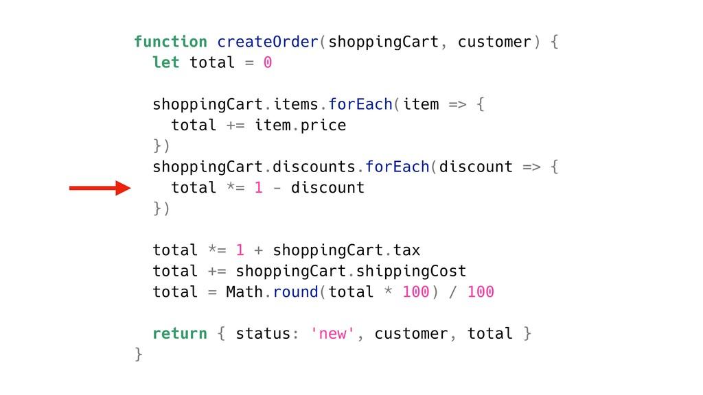 function createOrder(shoppingCart, customer) { ...