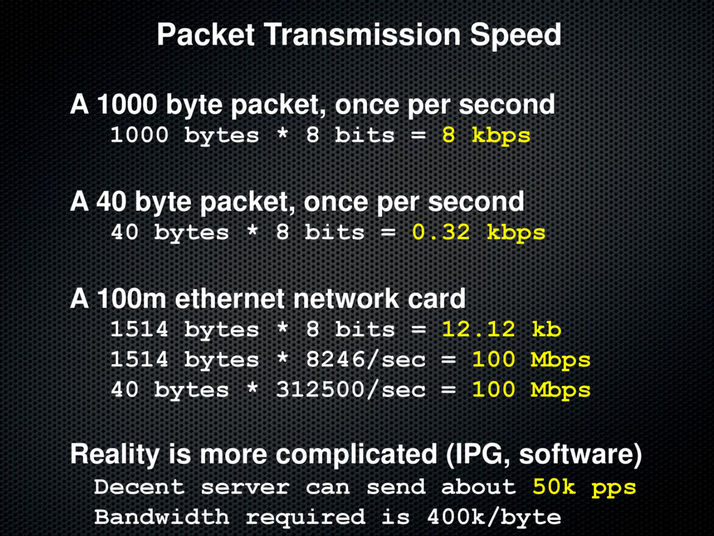 Packet Transmission Speed A 1000 byte packet, o...