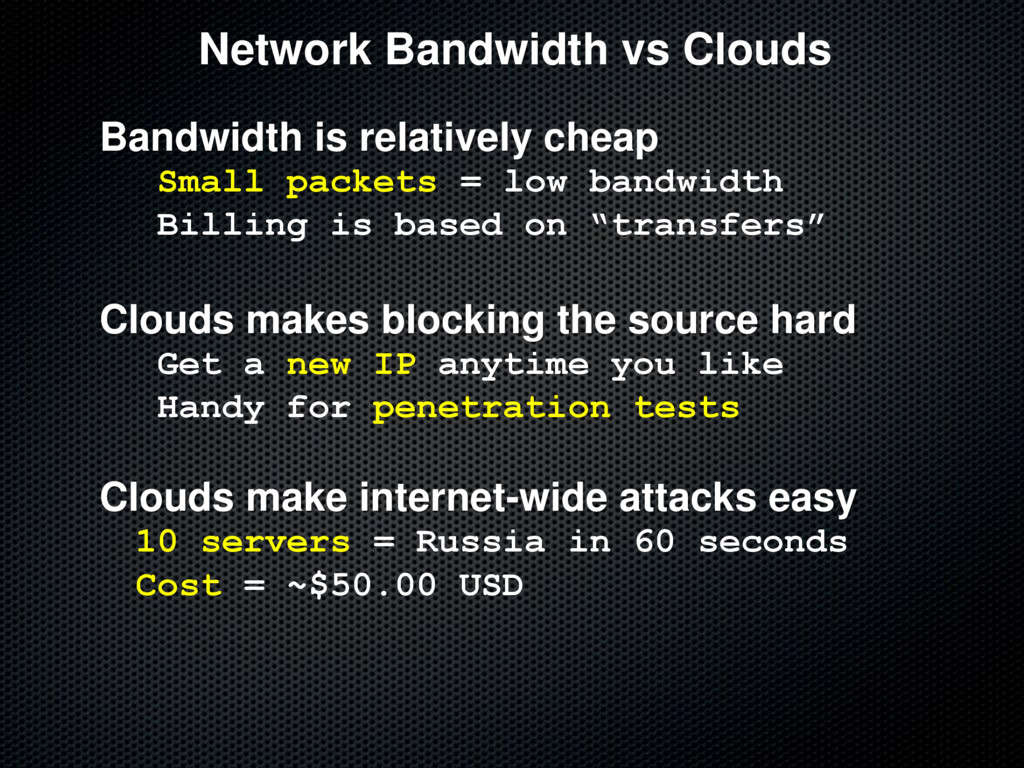 Network Bandwidth vs Clouds Bandwidth is relati...
