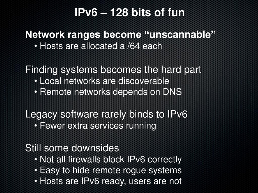 "IPv6 – 128 bits of fun Network ranges become ""u..."