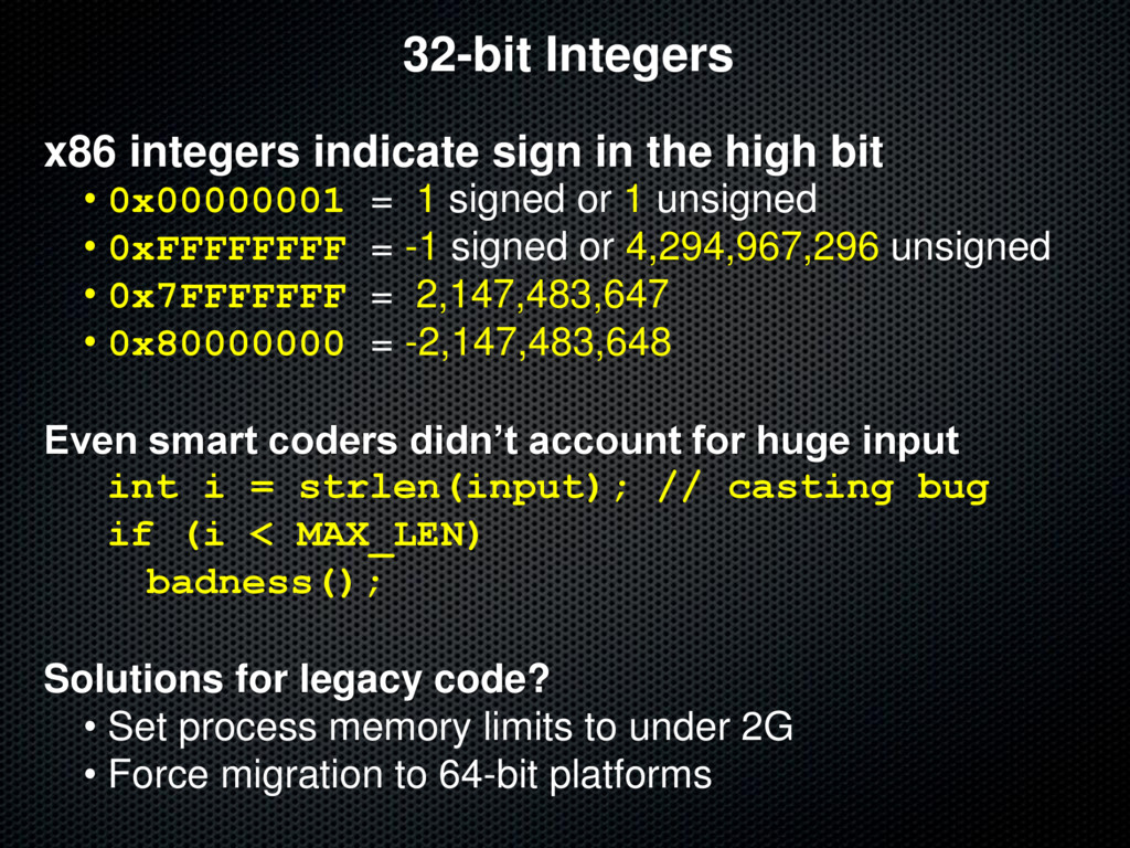32-bit Integers x86 integers indicate sign in t...