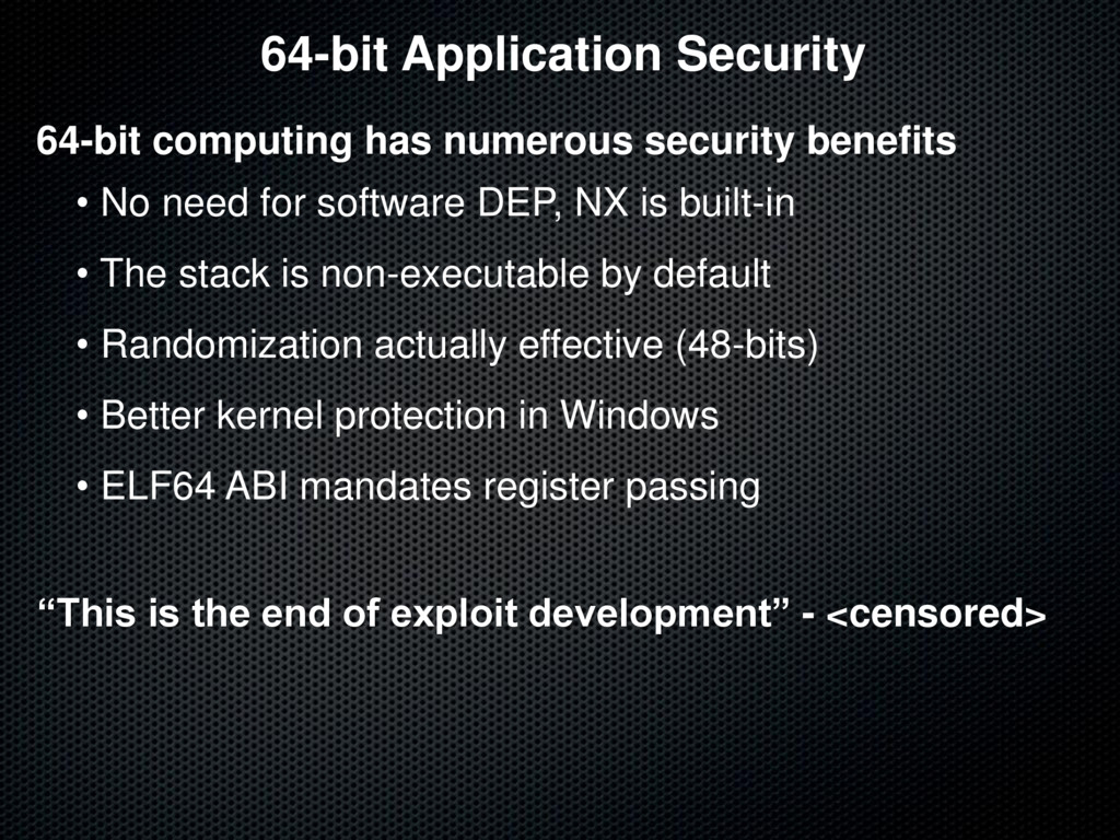 64-bit Application Security 64-bit computing ha...