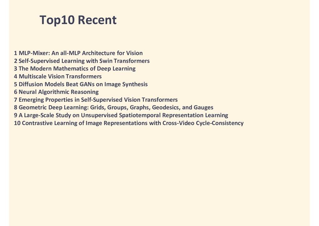 Top10 Recent 1 MLP-Mixer: An all-MLP Architectu...