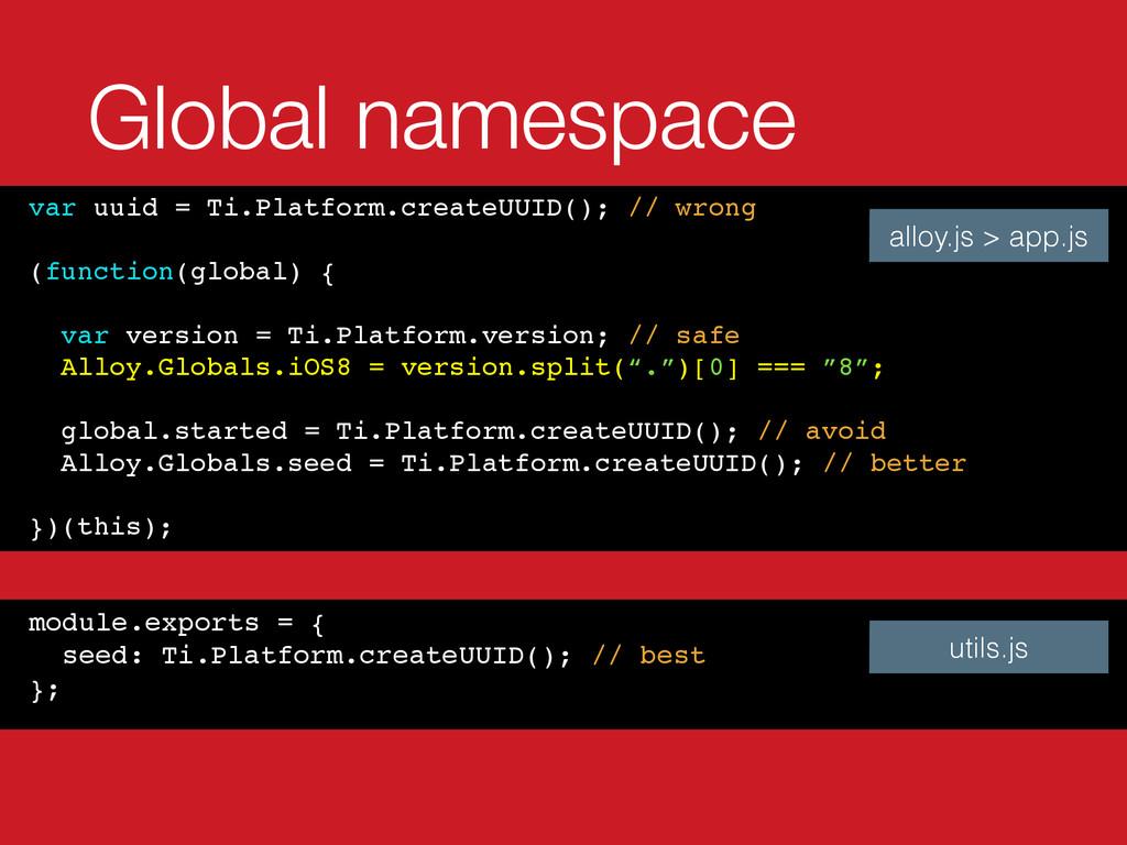 Global namespace var uuid = Ti.Platform.createU...