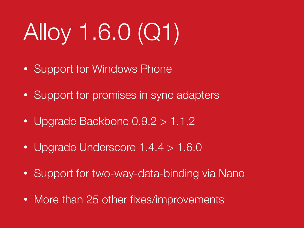 Alloy 1.6.0 (Q1) • Support for Windows Phone • ...