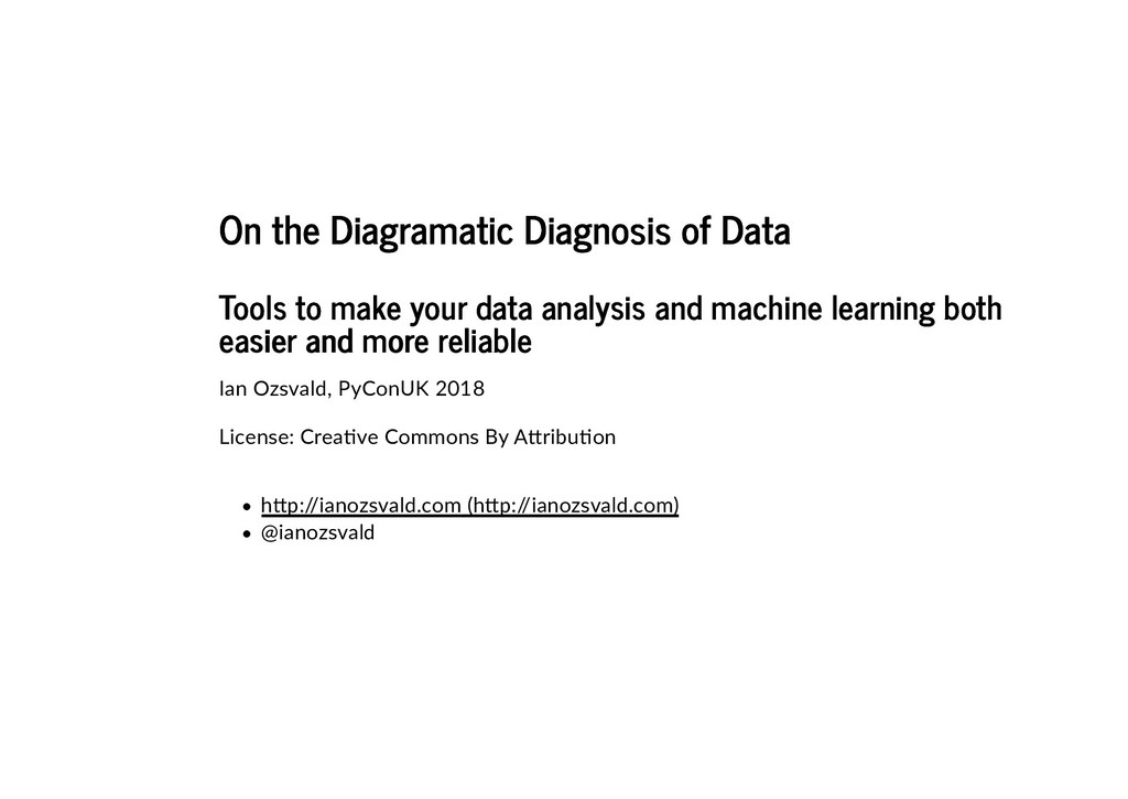 On the Diagramatic Diagnosis of Data On the Dia...