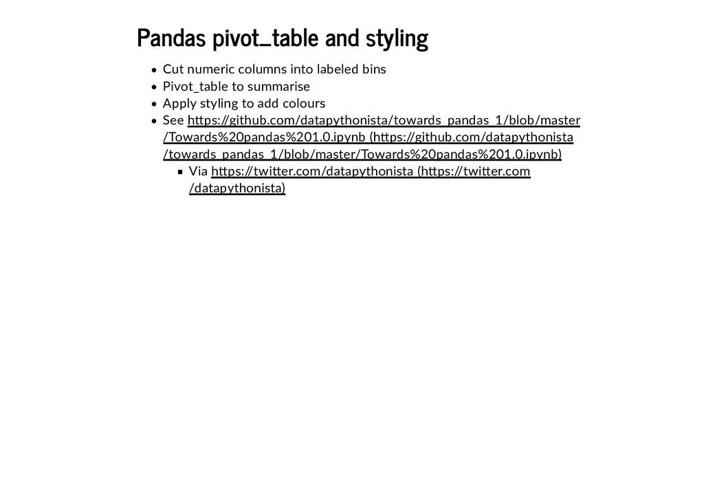 Pandas pivot_table and styling Pandas pivot_tab...