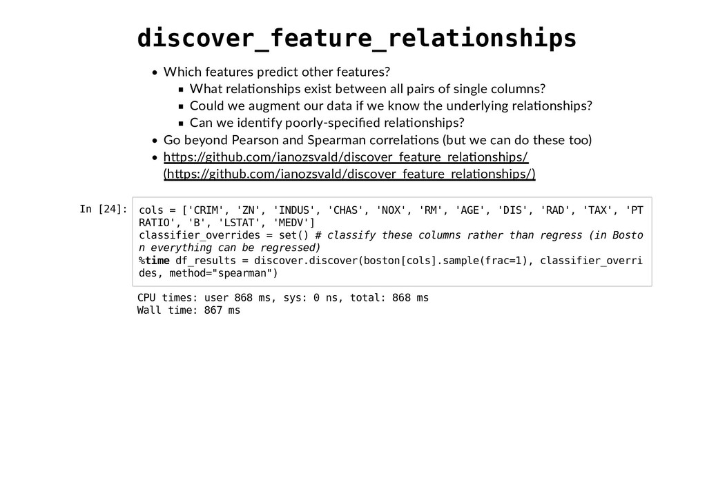 discover_feature_relationships Which features p...