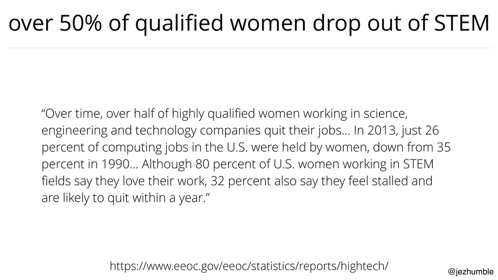 @jezhumble over 50% of qualified women drop out ...