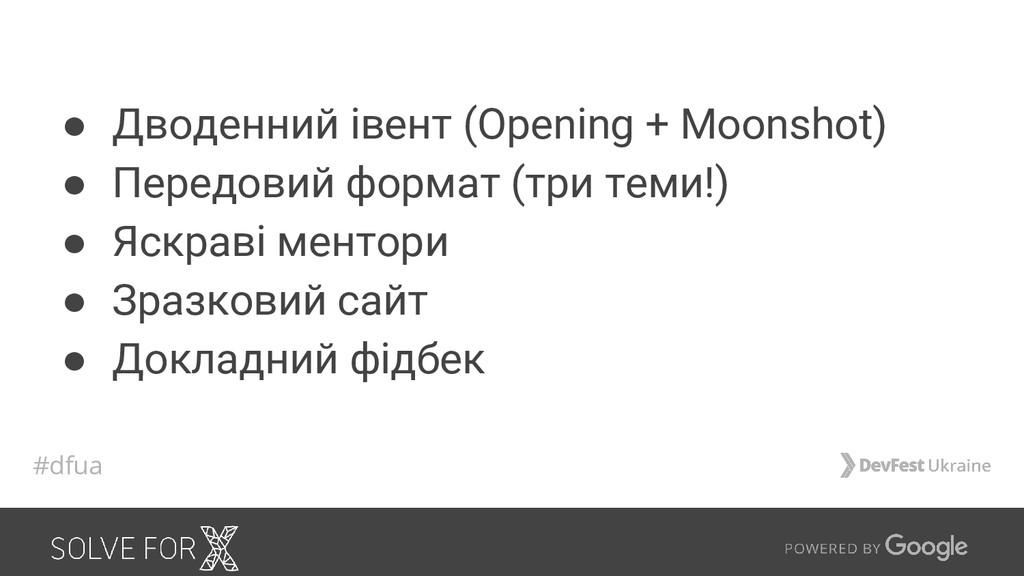 ● Дводенний івент (Opening + Moonshot) ● Передо...