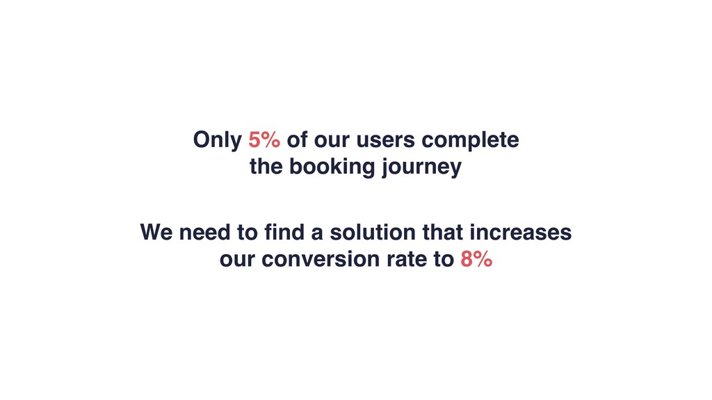 Only 5% of our users complete the booking journ...