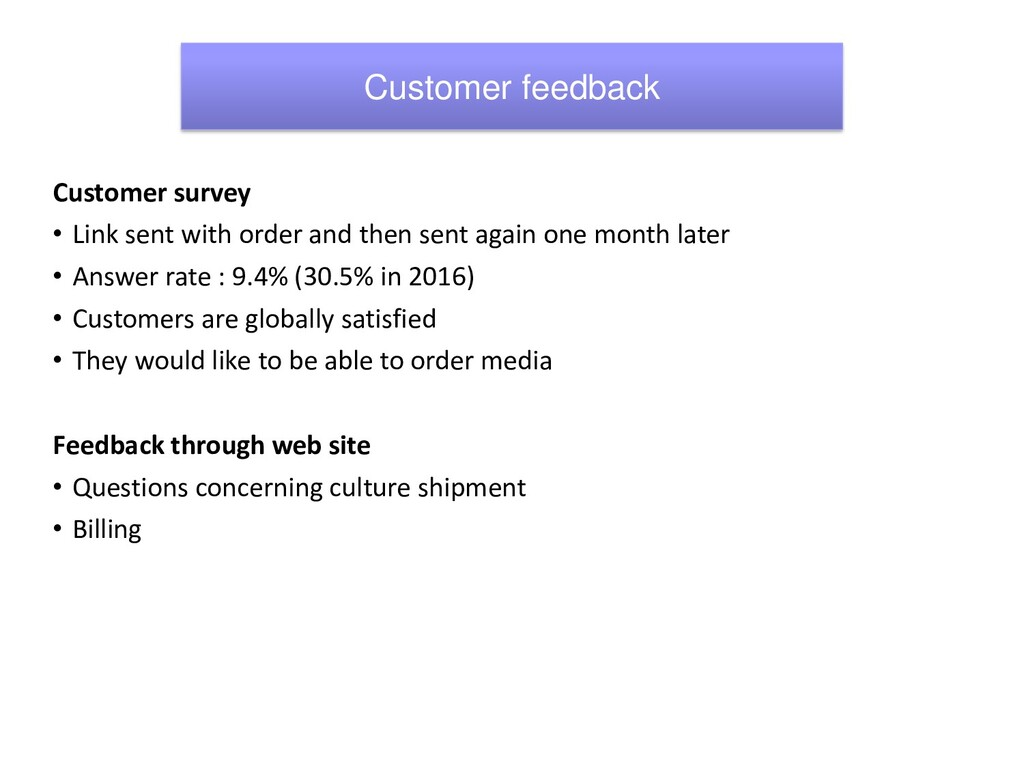 Customer survey • Link sent with order and then...