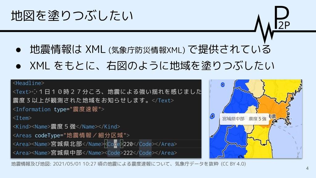 地図を塗りつぶしたい 4 ● 地震情報は XML (気象庁防災情報XML) で提供されている ...