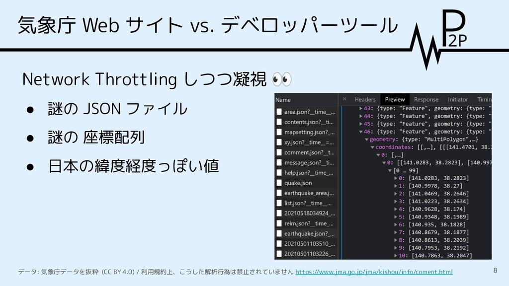 気象庁 Web サイト vs. デベロッパーツール 8 Network Throttling ...