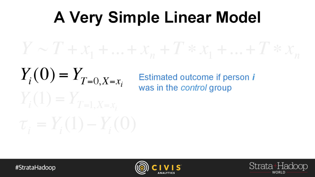 A Very Simple Linear Model Y ~ T + x 1 +...+ x ...