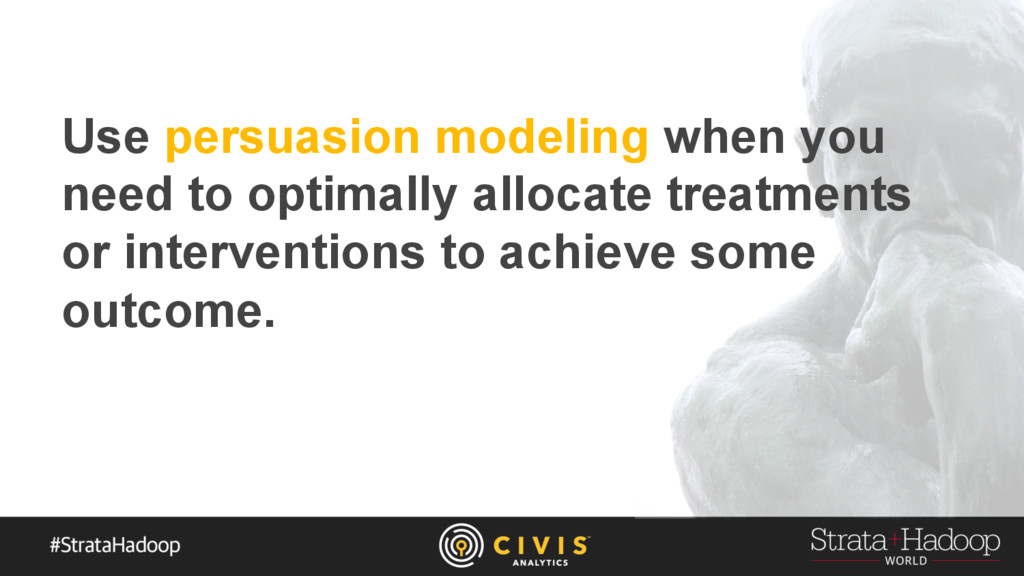 Use persuasion modeling when you need to optima...