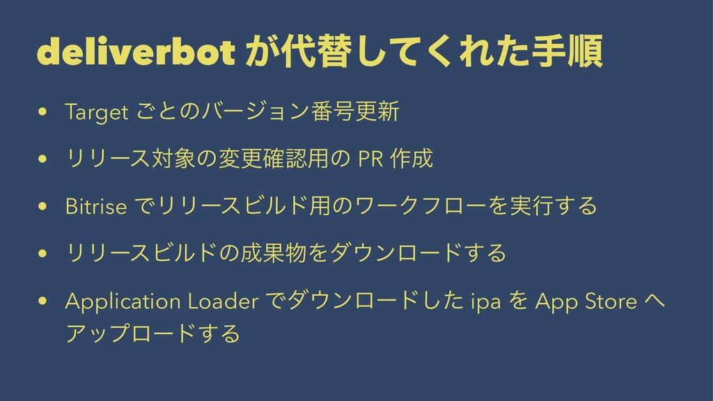 deliverbot ͕ସͯ͘͠Εͨखॱ • Target ͝ͱͷόʔδϣϯ൪߸ߋ৽ • Ϧ...