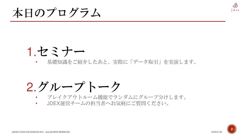 2 本日のプログラム 2020/6/29 JAPAN DATA EXCHANGE INC., ...