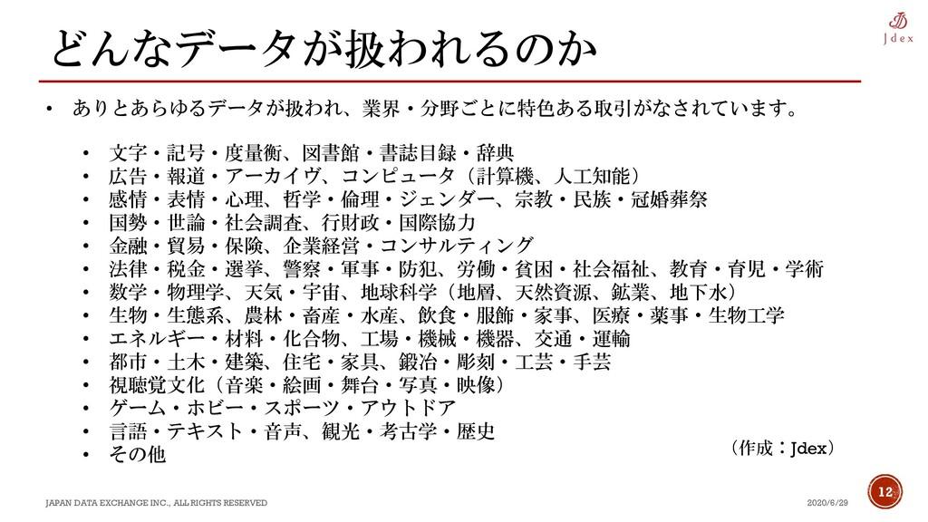 12 どんなデータが扱われるのか 2020/6/29 JAPAN DATA EXCHANGE ...