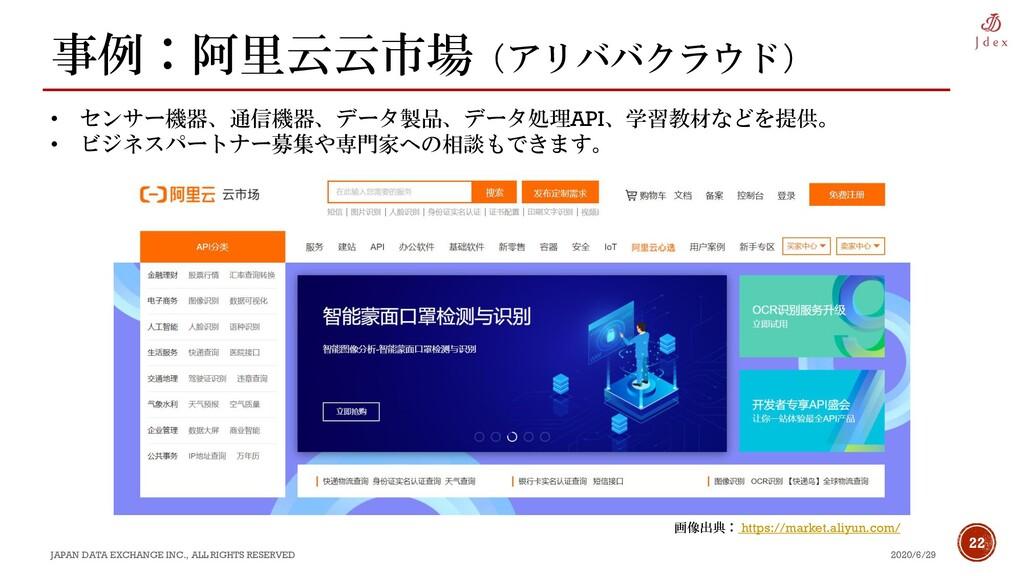 22 事例:阿里云云市場(アリババクラウド) 2020/6/29 JAPAN DATA EXC...